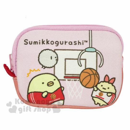 〔小禮堂〕角落生物 方形潛水布拉鍊零錢包《粉.籃球》收納包.耳機包