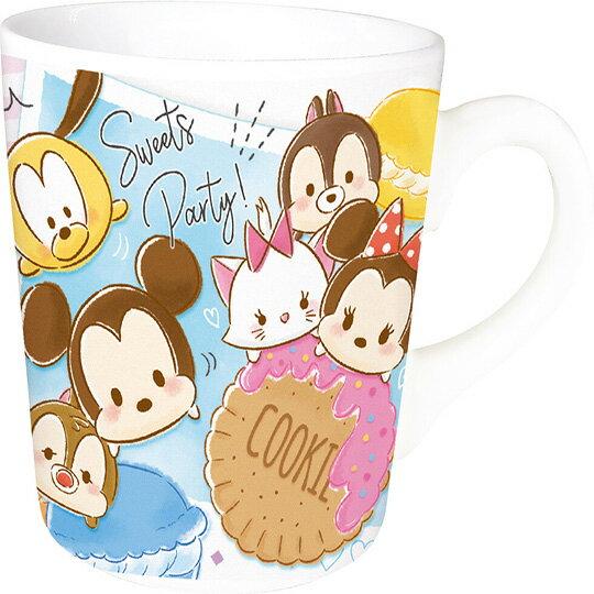小禮堂 迪士尼 TsumTsum 陶瓷馬克杯方巾組《藍粉.馬卡龍》手帕.咖啡杯.茶杯