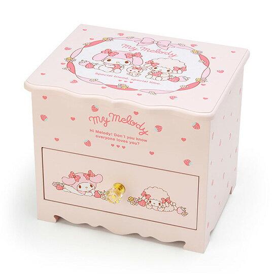 〔小禮堂〕美樂蒂 桌上型木製掀蓋單抽化妝鏡收納櫃《粉》化妝鏡盒.飾品盒