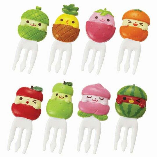 〔小禮堂〕日本TORUNE 水果造型塑膠食物裝飾叉組《8入.綠》甜點叉.水果叉.食物叉 0