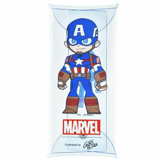 〔小禮堂]漫威英雄Marvel 美國隊長 防水透明扁平扣式筆袋《藍紅.站姿》收納包.鉛筆盒