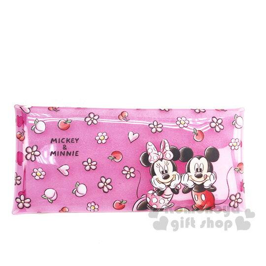 〔小禮堂]迪士尼 米奇米妮 防水透明扁平扣式筆袋《粉.花朵》收納包.鉛筆盒