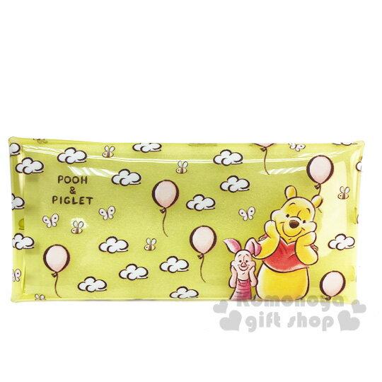 〔小禮堂]迪士尼 小熊維尼 防水透明扁平扣式筆袋《黃.雲朵》收納包.鉛筆盒