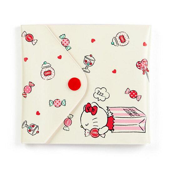 小禮堂 Hello Kitty 橫式扣式票據收納本《米紅.拿糖果》卡片夾.票據夾.收納夾