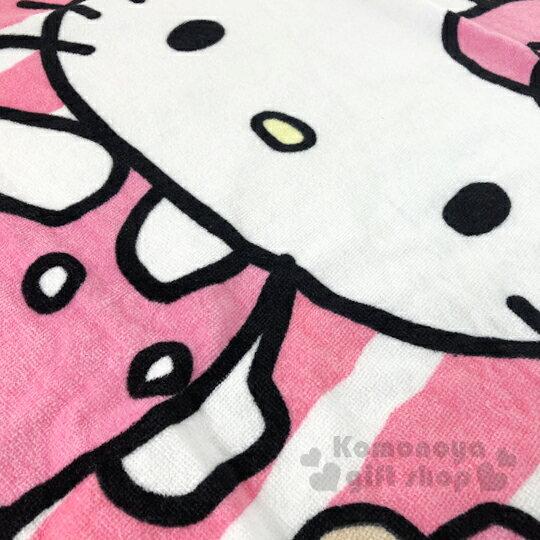 小禮堂 Hello Kitty 純棉割絨大浴巾《粉白.直紋》76x152cm.毛巾