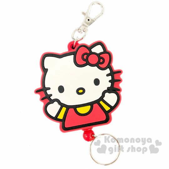 小禮堂 Hello Kitty 造型矽膠易拉扣伸縮鑰匙圈《紅白.全身》吊飾.掛飾.鎖圈