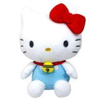 小叮噹週邊商品推薦〔小禮堂〕Hello Kitty x 哆啦A夢 絨毛玩偶娃娃《S.藍白》擺飾.玩具