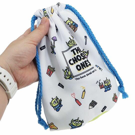 【領券折$30】小禮堂 迪士尼 三眼怪 棉質束口袋《綠白.食物滿版》18x21cm.縮口袋.收納袋