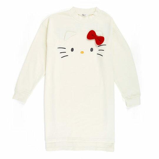 〔小禮堂〕Hello Kitty 立體耳朵休閒棉質長袖長版上衣《白》衛衣.長T.連身洋裝 0