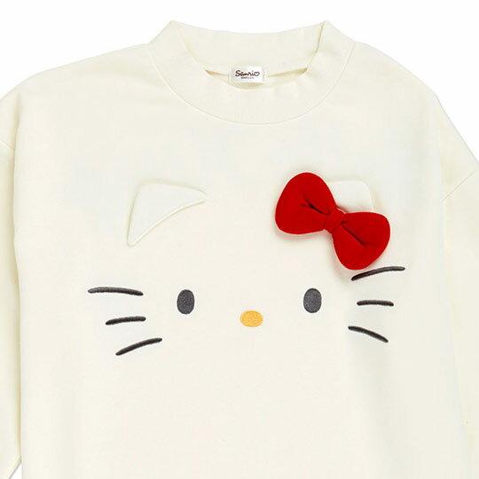 〔小禮堂〕Hello Kitty 立體耳朵休閒棉質長袖長版上衣《白》衛衣.長T.連身洋裝 2