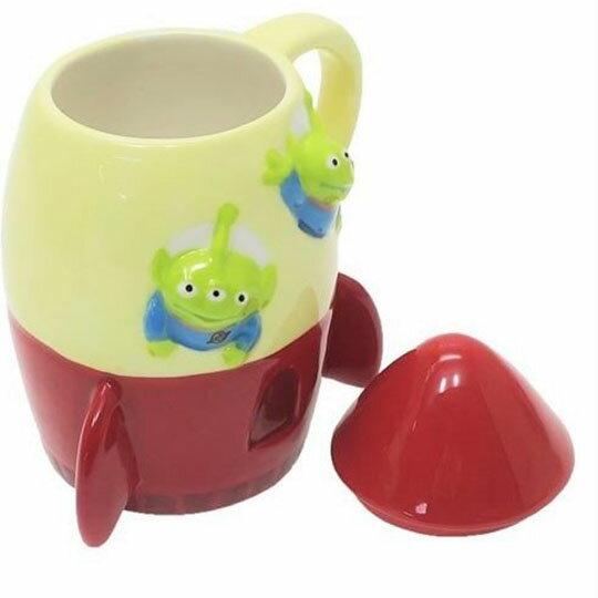 【領券折$30】小禮堂 迪士尼 三眼怪 火箭造型陶瓷馬克杯附蓋《米紅》咖啡杯.茶杯