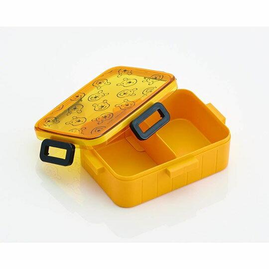 小禮堂 迪士尼 小熊維尼 日製 方形透明蓋微波便當盒 塑膠便當盒 保鮮盒 650ml (黃 滿版)