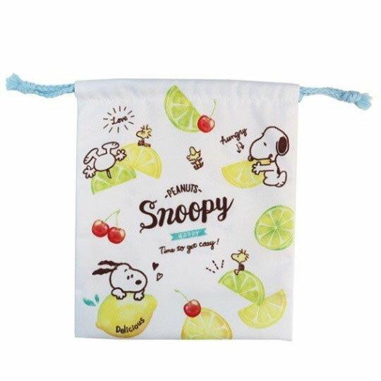 【領券折$120】小禮堂 史努比 棉質束口袋《白綠.檸檬》18x21cm.縮口袋.收納袋