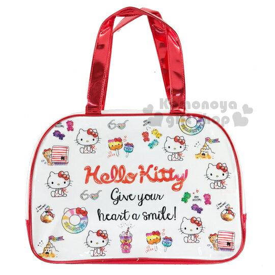 〔小禮堂〕Hello Kitty 防水海灘袋波士頓包《紅白.插圖》透明游泳袋.2020夏日特輯 0