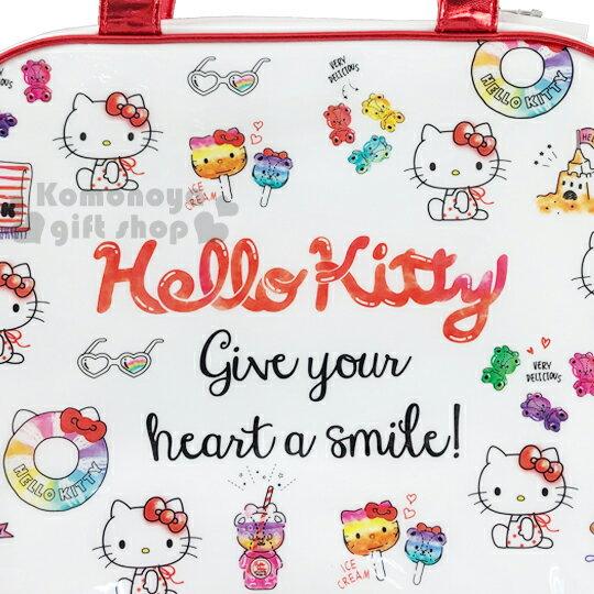 〔小禮堂〕Hello Kitty 防水海灘袋波士頓包《紅白.插圖》透明游泳袋.2020夏日特輯 1