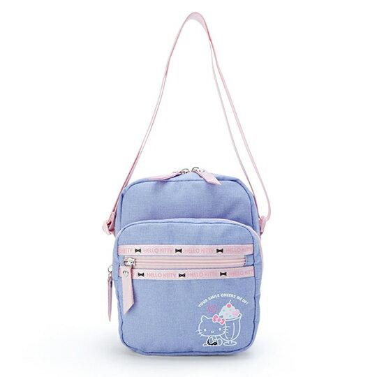 〔小禮堂〕Hello Kitty 方形帆布三層拉鍊斜背包《紫.聖代杯》隨身包.外出包 0