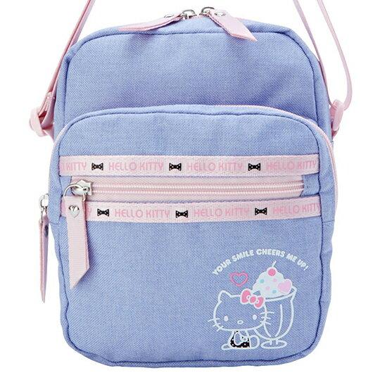 〔小禮堂〕Hello Kitty 方形帆布三層拉鍊斜背包《紫.聖代杯》隨身包.外出包 1