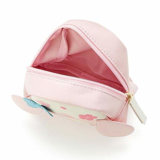 〔小禮堂﹞美樂蒂 富士山造型皮質化妝包《粉白》收納包.萬用包.燦爛櫻花系列 2