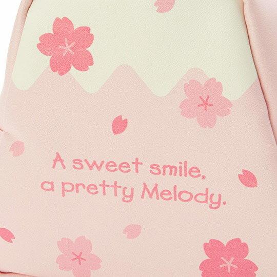 〔小禮堂﹞美樂蒂 富士山造型皮質化妝包《粉白》收納包.萬用包.燦爛櫻花系列 4