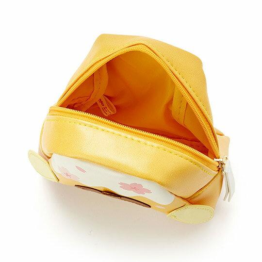 〔小禮堂﹞布丁狗 富士山造型皮質化妝包《黃白》收納包.萬用包.燦爛櫻花系列 2