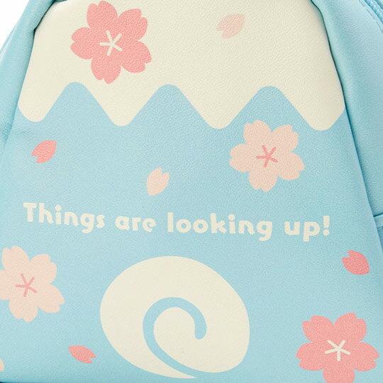〔小禮堂﹞大耳狗 富士山造型皮質化妝包《藍白》收納包.萬用包.燦爛櫻花系列 4
