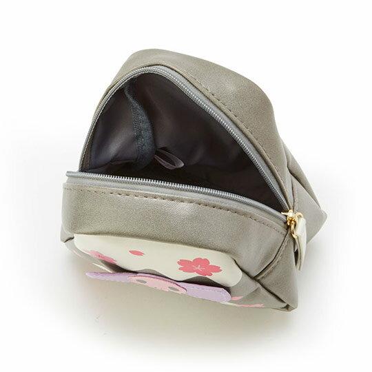 〔小禮堂﹞酷洛米 富士山造型皮質化妝包《灰白》收納包.萬用包.燦爛櫻花系列 2