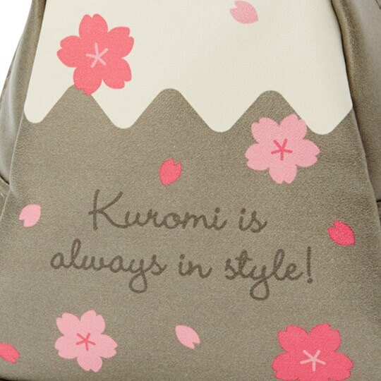 〔小禮堂﹞酷洛米 富士山造型皮質化妝包《灰白》收納包.萬用包.燦爛櫻花系列 4