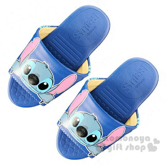 〔小禮堂〕迪士尼 史迪奇 兒童皮質拖鞋《藍.大臉》室內拖鞋.皮拖 0