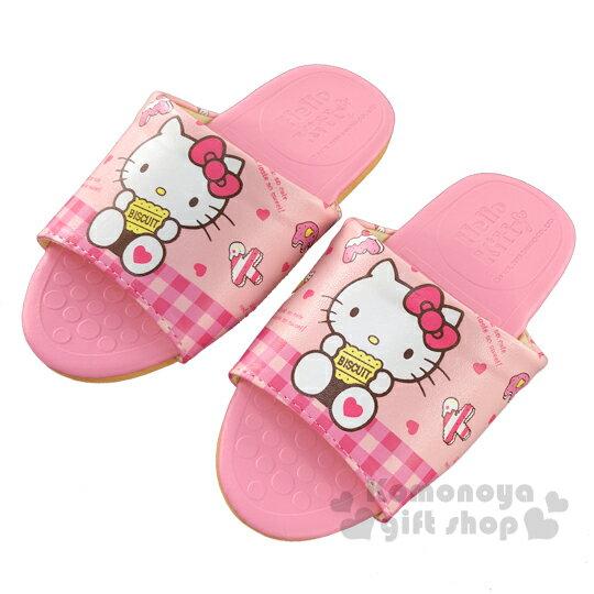〔小禮堂〕Hello Kitty 兒童皮質拖鞋《粉.拿餅乾》室內拖鞋.皮拖 0