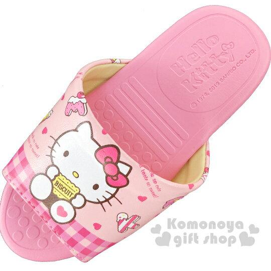 〔小禮堂〕Hello Kitty 兒童皮質拖鞋《粉.拿餅乾》室內拖鞋.皮拖 1
