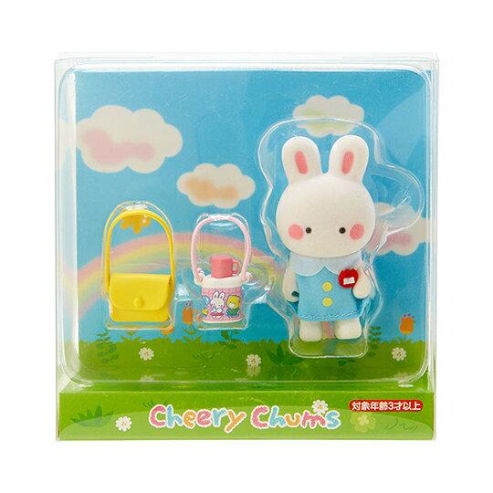 〔小禮堂〕凱莉兔 迷你植絨玩偶娃娃《藍白》掌上公仔.擺飾.復古學園系列 0