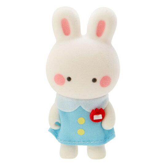 〔小禮堂〕凱莉兔 迷你植絨玩偶娃娃《藍白》掌上公仔.擺飾.復古學園系列 1