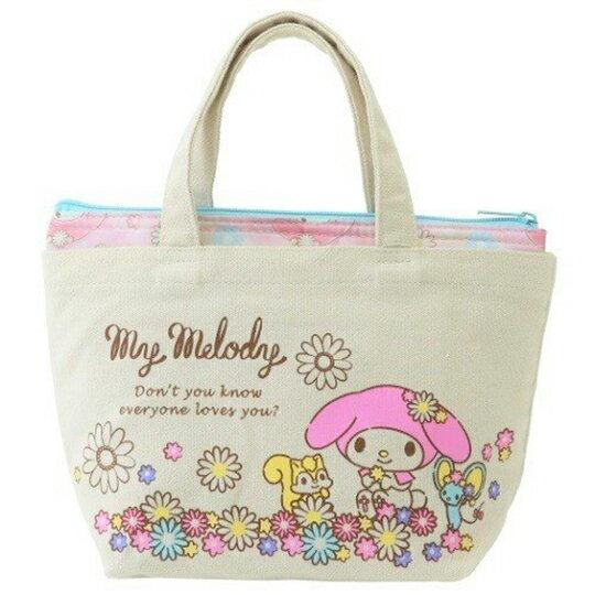 〔小禮堂〕美樂蒂 可拆式帆布保冷手提便當袋《米粉.花朵》野餐袋.保冷袋 0