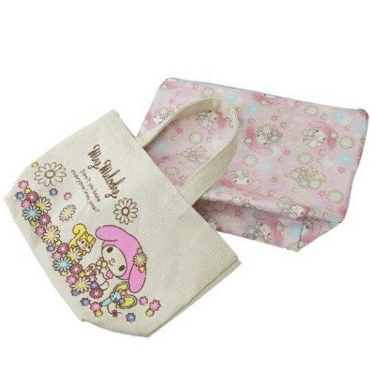 〔小禮堂〕美樂蒂 可拆式帆布保冷手提便當袋《米粉.花朵》野餐袋.保冷袋 1