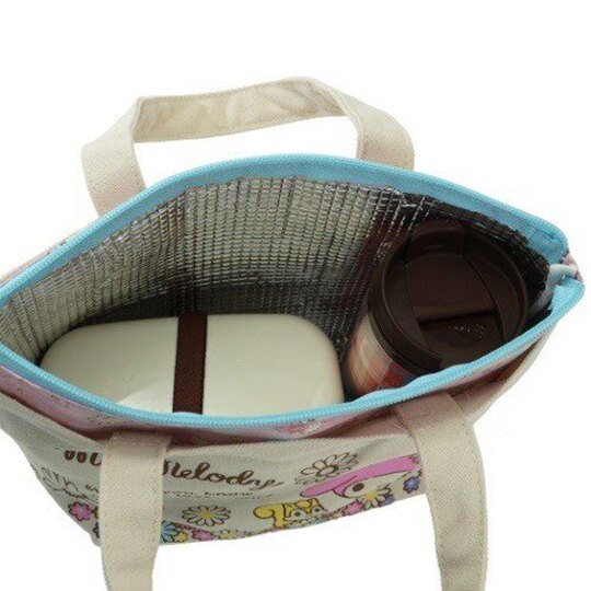 〔小禮堂〕美樂蒂 可拆式帆布保冷手提便當袋《米粉.花朵》野餐袋.保冷袋 3