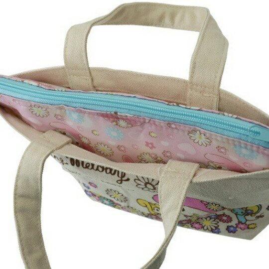 〔小禮堂〕美樂蒂 可拆式帆布保冷手提便當袋《米粉.花朵》野餐袋.保冷袋 4
