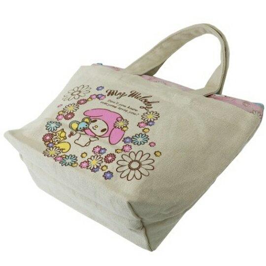 〔小禮堂〕美樂蒂 可拆式帆布保冷手提便當袋《米粉.花朵》野餐袋.保冷袋 5