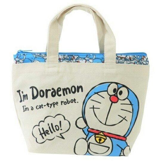 〔小禮堂〕哆啦A夢 可拆式帆布保冷手提便當袋《米藍.打招呼》野餐袋.保冷袋 0