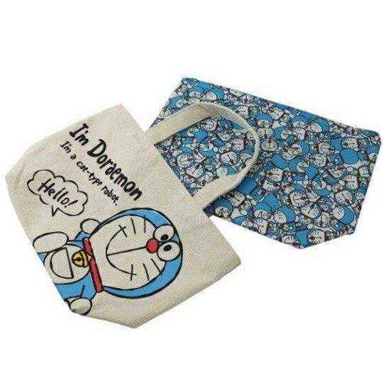〔小禮堂〕哆啦A夢 可拆式帆布保冷手提便當袋《米藍.打招呼》野餐袋.保冷袋 1
