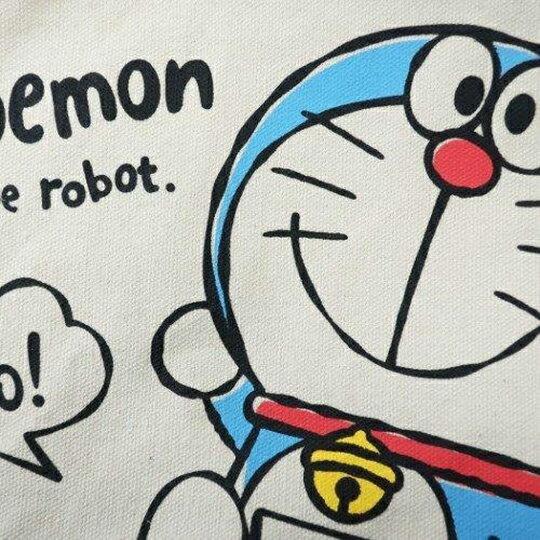 〔小禮堂〕哆啦A夢 可拆式帆布保冷手提便當袋《米藍.打招呼》野餐袋.保冷袋 2