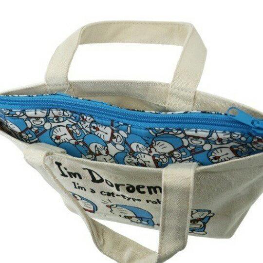 〔小禮堂〕哆啦A夢 可拆式帆布保冷手提便當袋《米藍.打招呼》野餐袋.保冷袋 4
