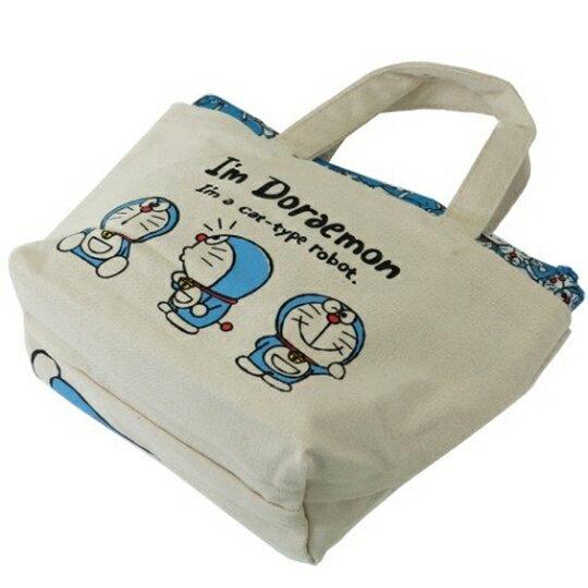 〔小禮堂〕哆啦A夢 可拆式帆布保冷手提便當袋《米藍.打招呼》野餐袋.保冷袋 5