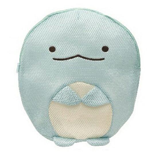 〔小禮堂〕 角落生物 恐龍全身造型圓筒網狀洗衣袋《藍》洗衣網袋.收納袋 0