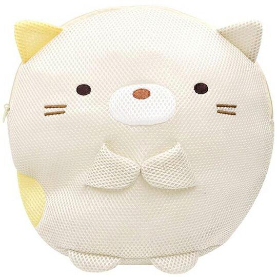 〔小禮堂〕 角落生物 貓咪 全身造型圓筒網狀洗衣袋《黃》洗衣網袋.收納袋 0
