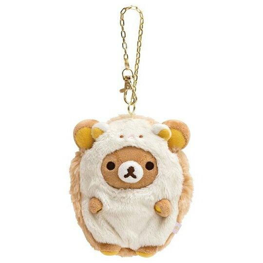 〔小禮堂〕懶懶熊 拉拉熊 絨毛玩偶娃娃吊飾《棕.刺蝟裝》掛飾.鑰匙圈 0
