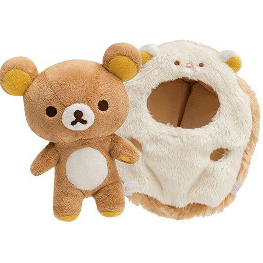 〔小禮堂〕懶懶熊 拉拉熊 絨毛玩偶娃娃吊飾《棕.刺蝟裝》掛飾.鑰匙圈 1