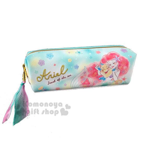 〔小禮堂〕迪士尼 小美人魚 皮質拉鍊筆袋《綠粉.牽手》化妝包.收納包.鉛筆盒 0