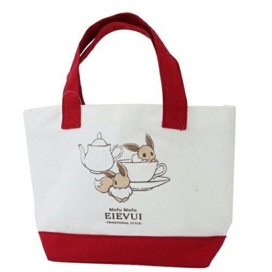 小禮堂 神奇寶貝Pokémon伊布 可拆式帆布保冷手提便當袋《紅白.咖啡杯》野餐袋.保冷袋