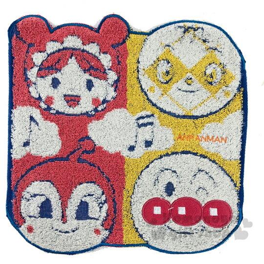 〔小禮堂〕麵包超人 造型純棉無捻紗小方巾《紅黃.角色大臉》25x25cm.手帕 0