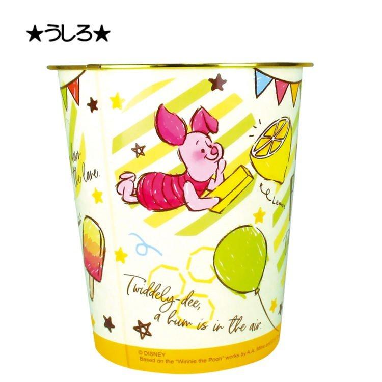 小禮堂 迪士尼 小熊維尼 垃圾桶 塑膠桶 書報桶 收納桶 置物桶 無蓋 圓形 (黃 塗鴉)